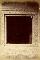 Window with carved architraves in Buddhist Vihara, Cave IV, Ajanta